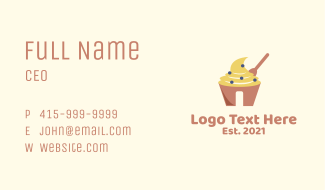 Cream Pastry Cupcake Business Card