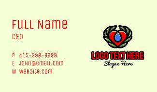 Eco Leaf Heart Business Card
