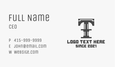 Letter T Steel Structure Business Card