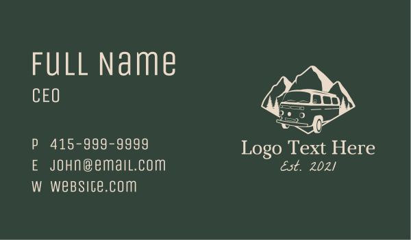 province - Camping Travel Van Business card horizontal design