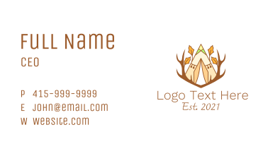 Forest Camping Tent  Business Card