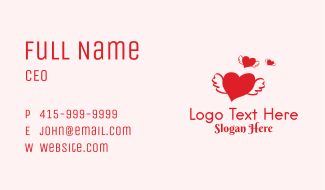 Romantic Flying Heart  Business Card