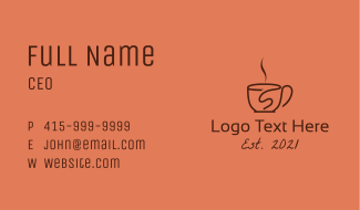 Steamy Letter S Cup Business Card