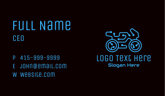 Blue Motorcycle Circuit Business Card