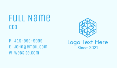Blue Outline Snowflake  Business Card