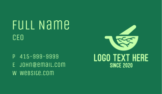 Green Roots Mortar & Pestle Business Card