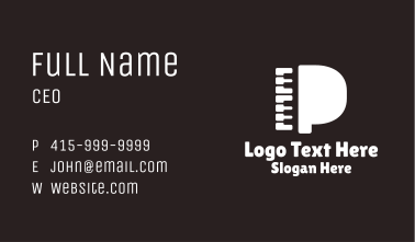 Piano Letter P Business Card