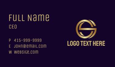 Golden CS Monogram Business Card