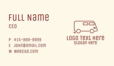 Red Monoline Carrier Van Business Card