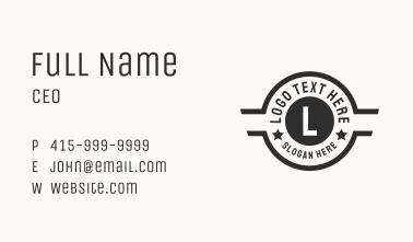 Black Retro Seal Letter  Business Card
