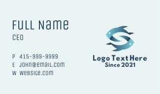 Aquatic Fish Letter S Business Card