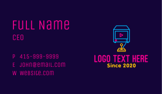 Neon Arcade Game Console Business Card