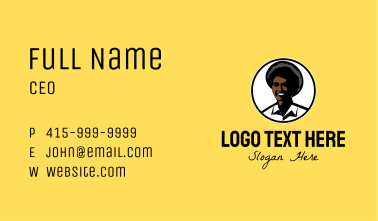 Happy Afro Woman Business Card