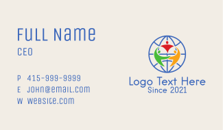 Multicolor Global Charity  Business Card