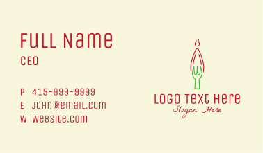 Red Chili Pepper Fork  Business Card