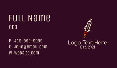 Wine Bottle Rocketship Business Card