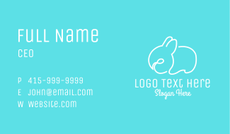 White Bunny Line Art Business Card