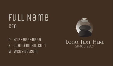 Peaceful Stone Stack Massage Business Card