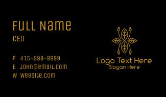 Minimalist Golden Leaf Business Card