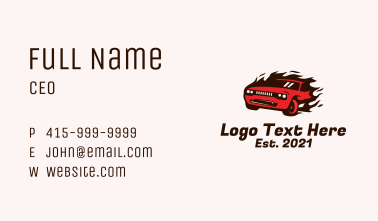 Fast Flaming Car Business Card