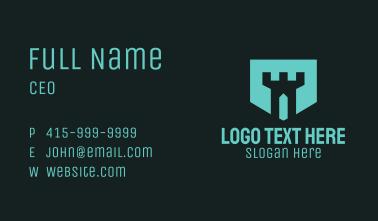 Blue Turret Badge Business Card
