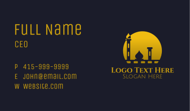 Yellow Mosque Sunset Business Card