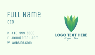 Green Gradient Eco Leaves Business Card