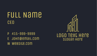 Yellow Skyscraper Cluster Business Card