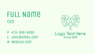 Green Minimalist Leaf Business Card