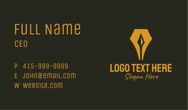 fountain - Fountain Pen Arrow Spear Business card horizontal design