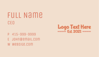 Asian Restaurant Wordmark Business Card
