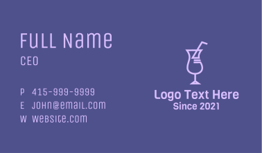 Purple Cocktail Drink Business Card