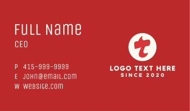 Red Flame Letter T Business Card