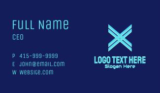 Neon Blue Letter X Business Card
