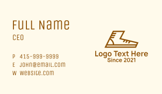 Brown Sneaker Outline Business Card