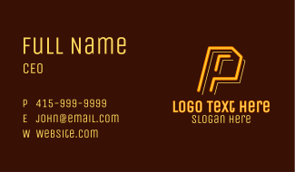 Neon Retro Gaming Letter P Business Card