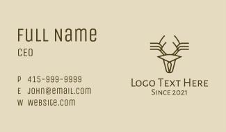 Minimalist Stag Deer Antlers Business Card