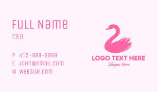 Pink Swan Brushtstroke Business Card