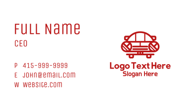 Vintage Red Car Business Card