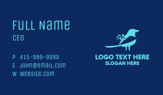 Blue Pixel Bird Business Card