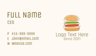 Minimalist Hamburger Sandwich Business Card