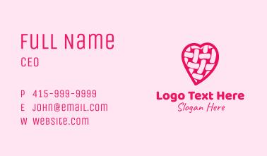 Pink Woven Heart  Business Card