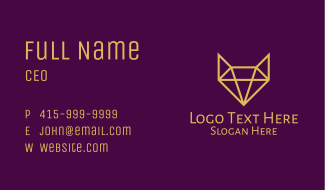 Yellow Fox Diamond Business Card
