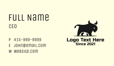 Black Angry Bull Business Card
