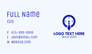 Blue Working Hours Clock Business Card
