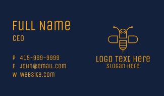 Orange Monoline Bee Business Card