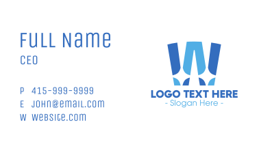Blue Shiny Letter W Business Card