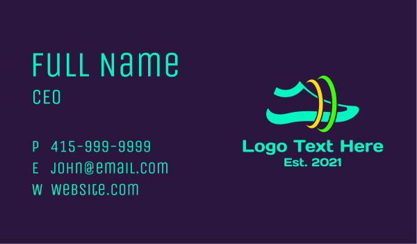 sports shop - Space Running Shoes Business card horizontal design