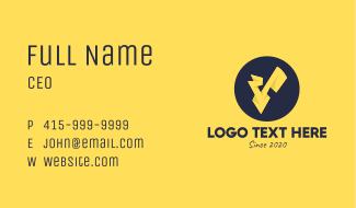 Yellow Voltage Letter V Business Card