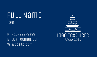White Ship Boat Business Card